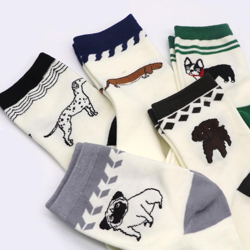 1Pair Women   Socks   with Print Dog Winter   Socks   For Women Cute Cartoon Art   Sock   Female Animal   Socks   Chaussette Femme Sokken