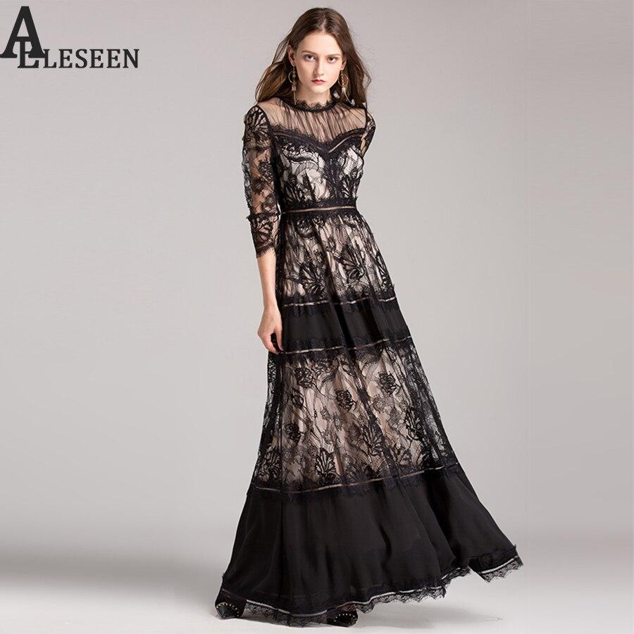 Vintage dentelle robe femmes à manches longues Transparent dentelle 3/4 manches Maxi étage-longueur musulman luxe noir blanc longue robe nouveau 2019