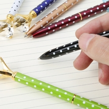 1 Pc High Quality Ballpoint Pen Creative Dots Large Diamond Ballpoint Pen Stationery Office School Supplies Gift 1 pc creative crystal diamond ballpoint pen fashion creative stylus touch pen for writing stationery office
