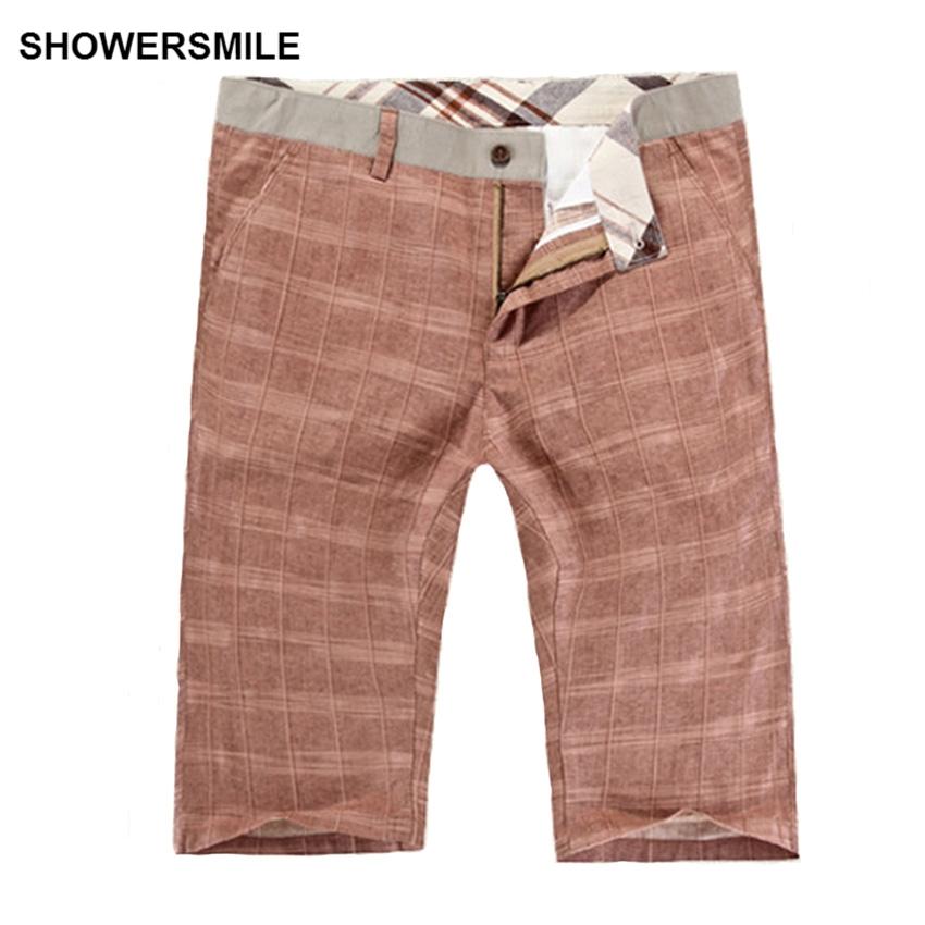 showersmile marca ropa de verano pantalones cortos de algodn para hombre pantalones cortos a cuadros informal