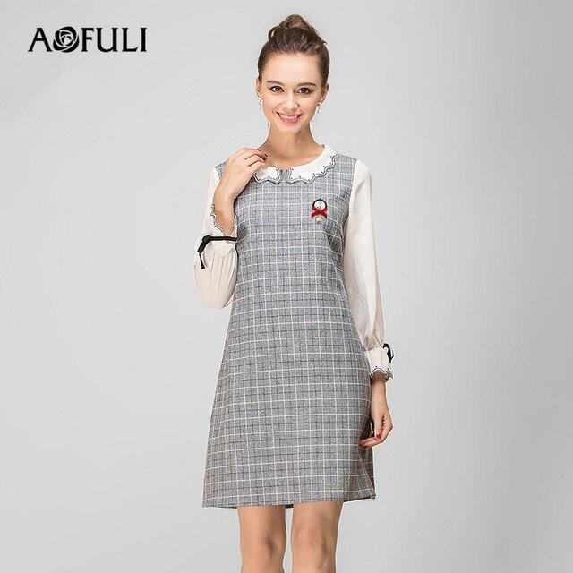 AOFULI L- 3XL 4XL 5XL Plus size Dress 2018 Spring New Women Flare Long  sleeve 072050806657