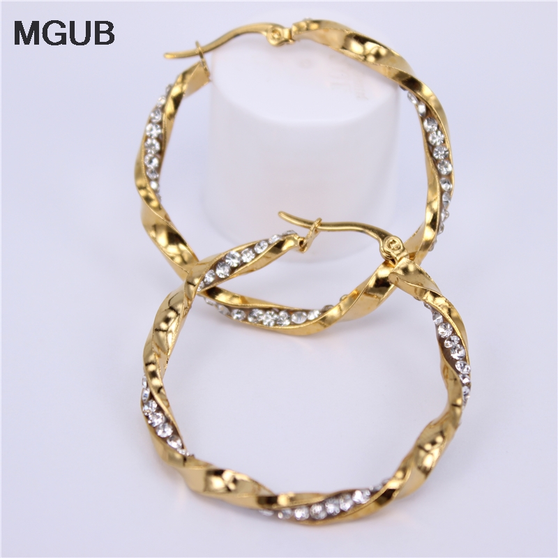 MGUB Diameter 30MM-40MM Crystal Round Hoop Earrings Twisted Gold Color For Women Party Wholesale Top Quality LH564