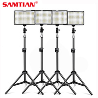 SAMTIAN 4Sets Photography Lighting Kit 160 LED Studio Photo Video Light Lamp With Tripod and NP F550 Battery For DSLR Camera
