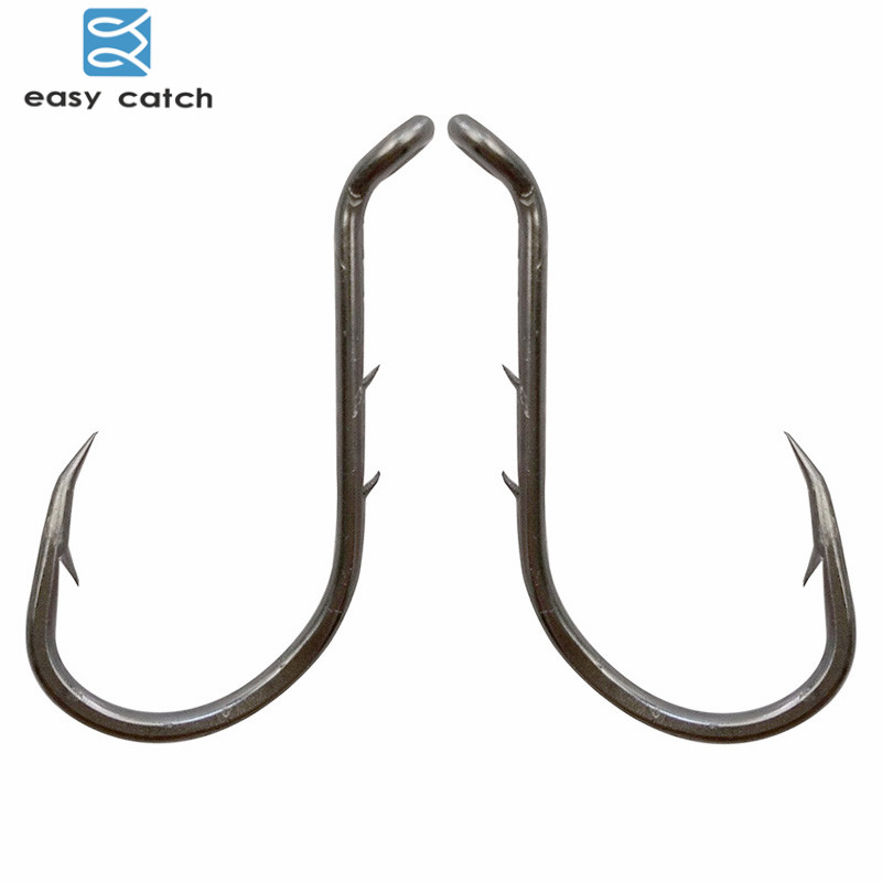 Easy catch 100pcs 8299 fishing hooks black offset barbed for Barbed fishing hook