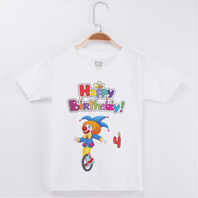цена на Limited Time Discount Birthday Tees Child Boy Tshirt Clown Print Cotton O-Neck Fashion Short Sleeve Tees Basic White Tee Shirts