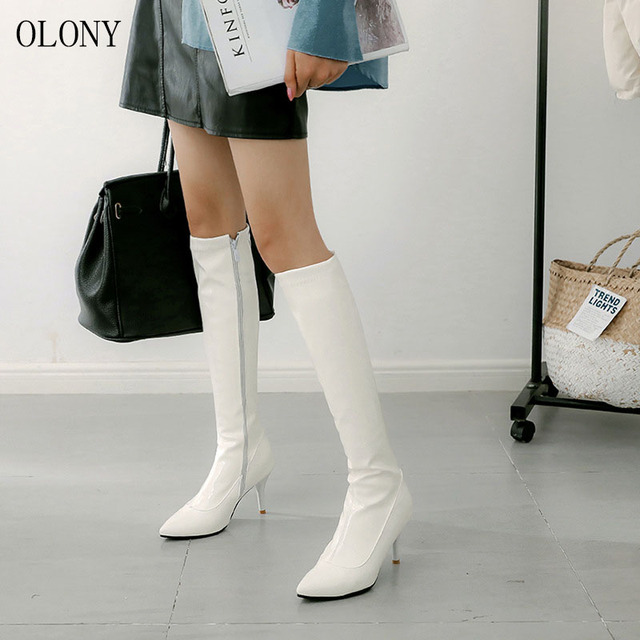 2018 الأوروبية والأمريكية موضة المرأة أحذية طويلة سوبر عالية الكعب الجانب سستة الركبة الأحذية الإناث ملهى ليلي مأدبة عالية الكعب