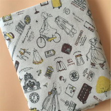 Lovely Girl Printed Cotton Linen Fabric Canvas Wear-Resistant Marterial Sewing For Quilting Home Textile