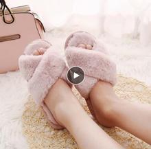 купить Winter Women Home Slippers with Faux Fur Fashion Warm Shoes Woman Slip on Flats Female Slides Black Pink Plus Size 41 по цене 593.96 рублей