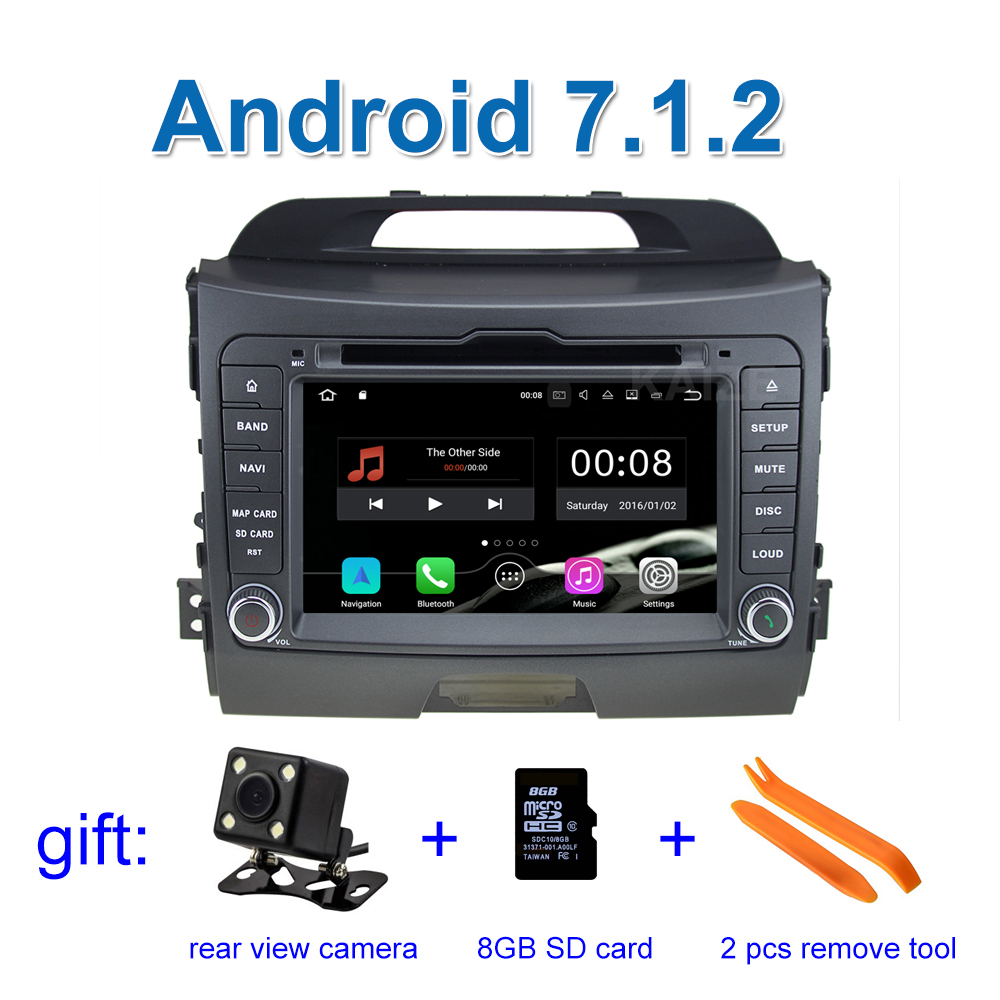 2GB RAM Quad Core 1024*600 Pure Android 7.1 Car DVD for Kia Sportage 2010 2015 with Radio RDS Video GPS BT WiFi