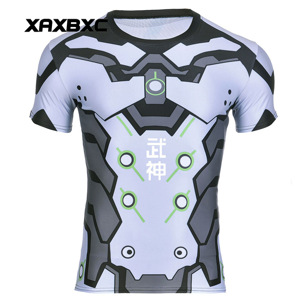 New 2017 Summer 0066 Blizzard Game OW Genji Ninja Armoured Cosplay Prints Quick-dry Fitness Short Sleeve Mens T-shirt Men Tees