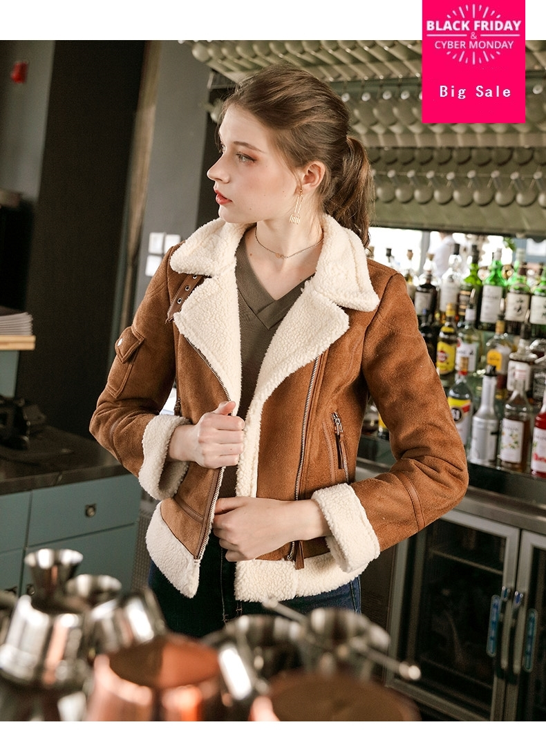 Fashion brand faux lambwool velvet thikcer   suede   jacket female street style fake fur collar warm   leather   jacket coat wq424