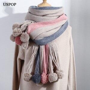 Image 3 - USPOPผ้าพันคอฤดูหนาวผู้หญิงผ้าพันคอแฟชั่นผ้าพันคอยาวการปิดกั้นสีPompoms Pashminaนุ่มWarmหนาฤดูหนาวผ้าคลุมไหล่