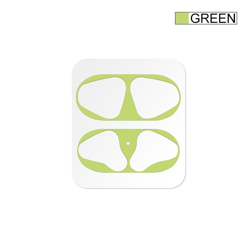 Металлическая Пылезащитная наклейка для Apple AirPods, чехол, Пыленепроницаемая защитная наклейка, защитная пленка для Air Pods, аксессуары - Цвет: Green