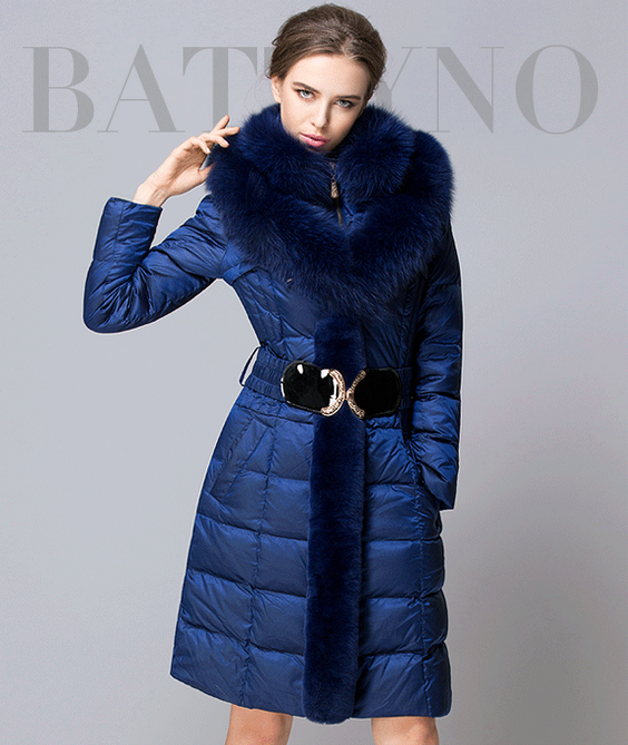 European High-end Large Fox Fur Collar Jacket  2017 Long Womens Winter Jackets Slim Thickening Winter Parka Women Ukraine Zipper