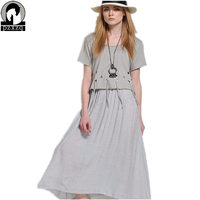 Summer Style Original Design European Cotton Hollow Large Size Women Loose Short Sleeved Dress 2016 New