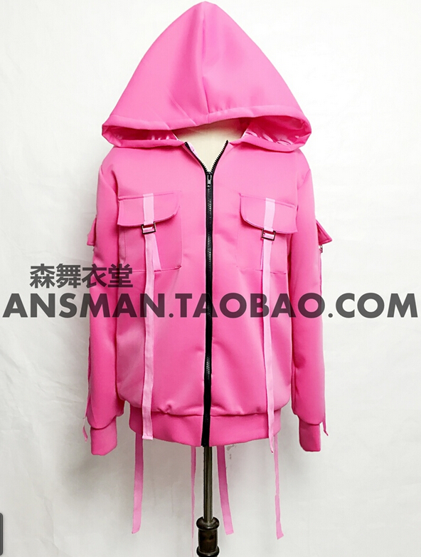 newest brand costumes Men Singers DJ DS beyonce spicy chicken DS with pink straps hip-hop baseball stage uniform coat !