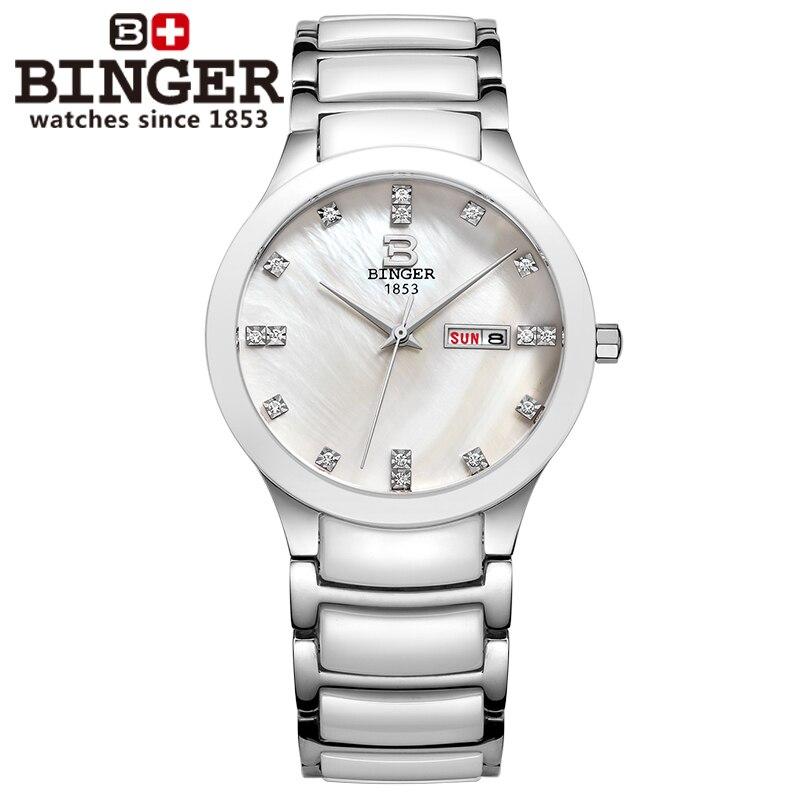 Reloj de cerámica Suiza Binger espacio reloj de cuarzo de moda relojes de amantes de diamantes de imitación 100M resistencia al agua B 8007 5-in Relojes de cuarzo from Relojes de pulsera    2