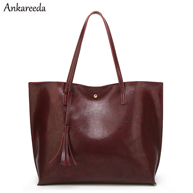 Ankareeda Luxury Brand Women Shoulder Bag Top Handle Soft Leather Bags Fashion Tassel Tote Handbag High