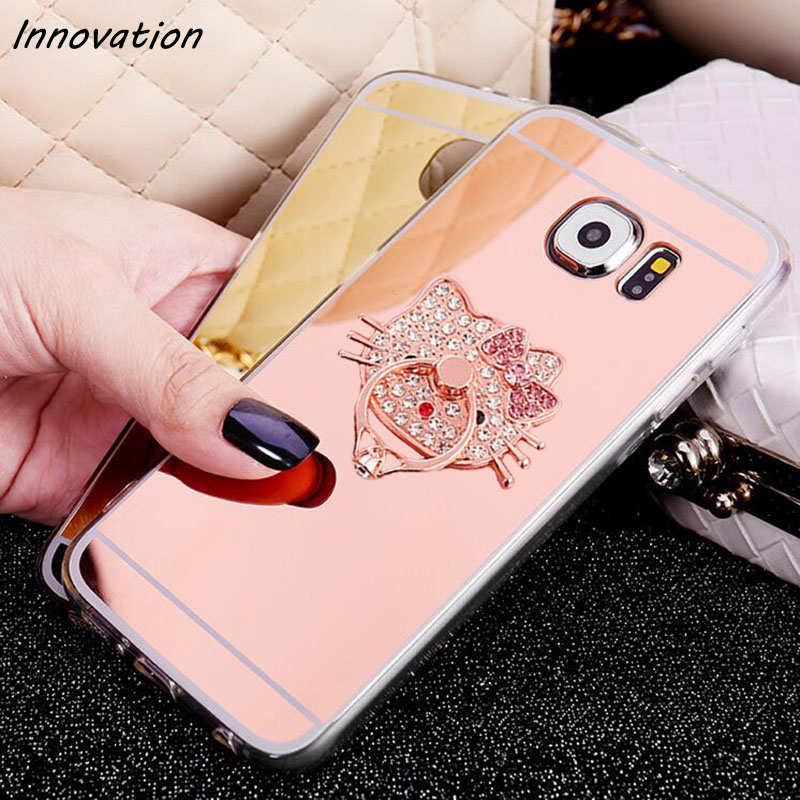 Innovation Luxury Finger Ring Holder Stand Clear TPU Soft Silicone Mirror Cover For Samsung Galaxy S7 edge S6 S8 Plus Phone Case