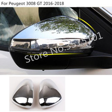car styling decoration rear view Rearview Side glass Mirror Cover trim frame lamp 2pcs For Peugeot 3008 GT 3008GT 2016 2017 2018 цена и фото