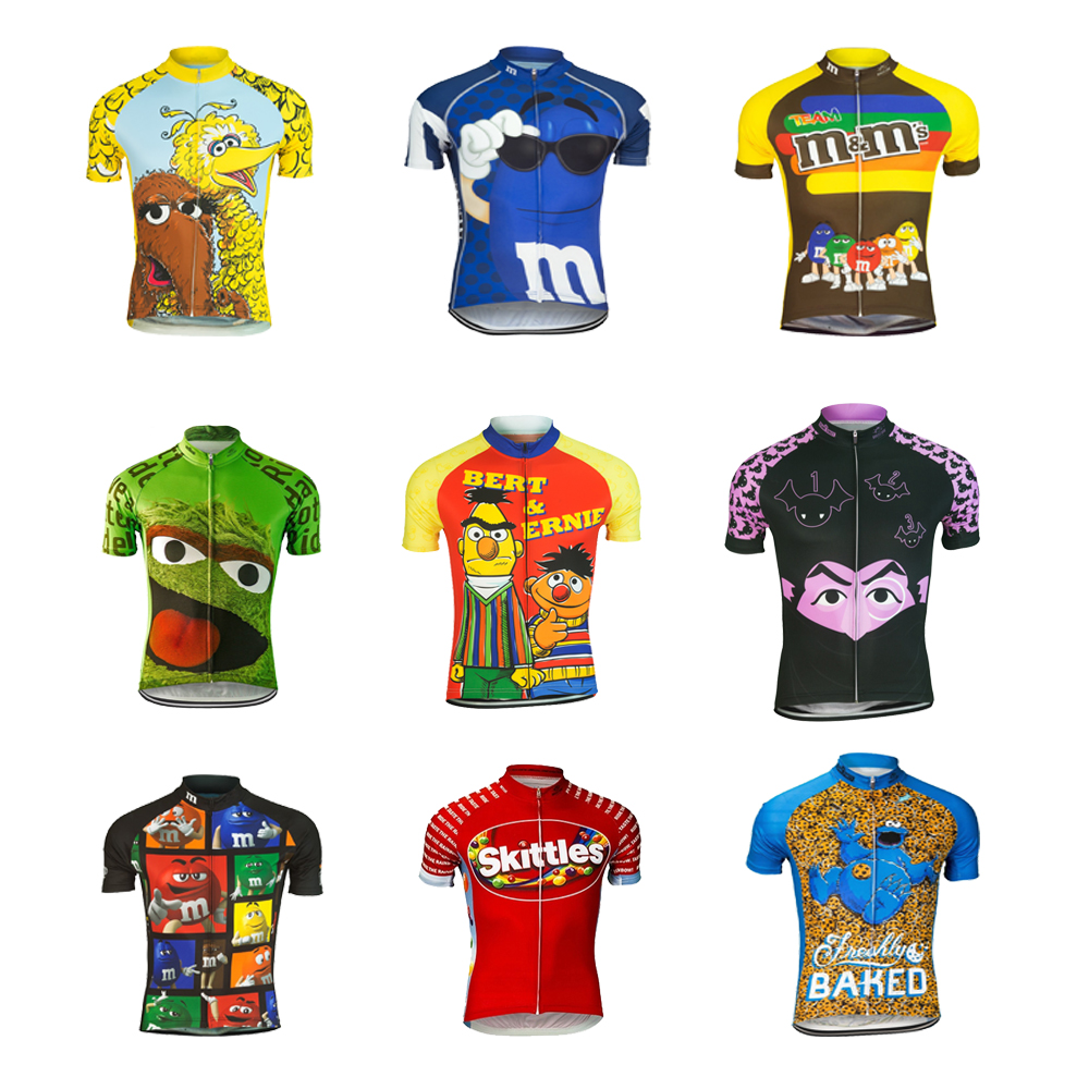 DOWNORUP Cartoon Funny Cycling Jersey Ropa Ciclismo Men Short Sleeve Cycling Clothing