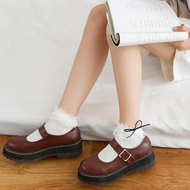 Jeseca Women Girls Sweet Cotton Soft Sock 2019 Winter Ruffles Bowknot Lace Japanese Kawaii Cute Sock Female Harajuku Vintage Sox
