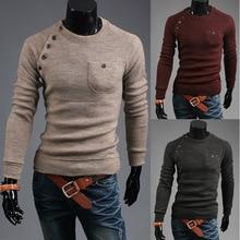 2016 neue Herbst Mode Pullover O-ansatz Striped Slim Fit Stricken Herren Stretch Pullover und Pullover Männer Pullover Freeshipping
