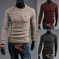 2016 Nova Moda Outono Sweater O Pescoço Listrado Slim Fit Knitting Trecho Mens Camisolas e Pulôveres Homens Pullover Freeshipping