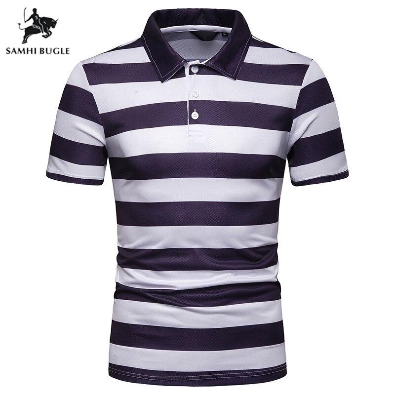 Mens Fashion 2019 Lapel Men   Polo   Shirt Breathable Striped Short Sleeve   Polo   Shirt Cotton Work Clothes   Polos