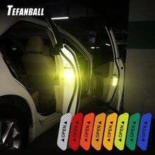 4 Pçs/set Carro adesivos refletivos Fita Fitas de Aviso Mark Segurança Dirigir À Noite a Iluminação Luminosa Acessórios Porta Do Carro Adesivos