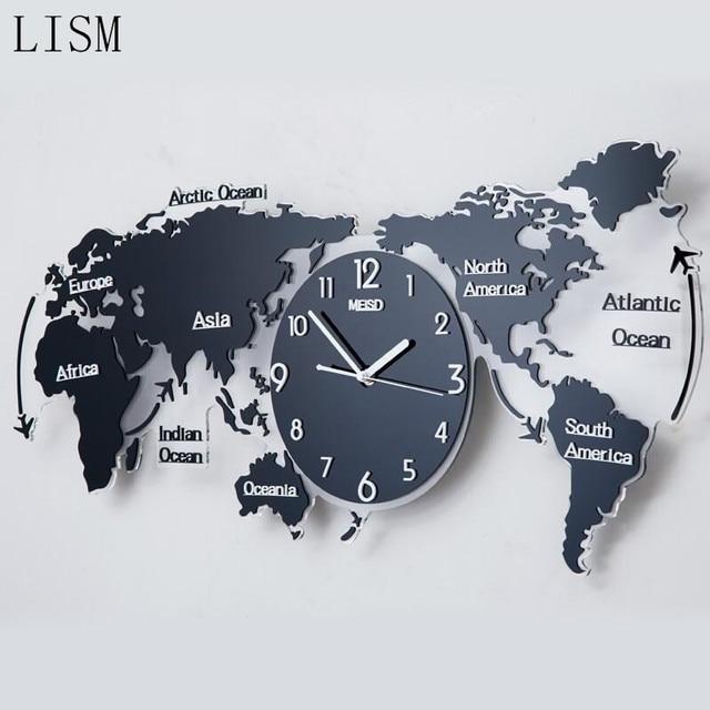 Clock World Map.Nordic Style Creative 3d Acrylic Wall Clock World Map Type Large