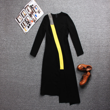 2017 Unique Design Women Top Fashion Long Sleeve Asymmetrical Striped Patchwork Casual Dress Big Size S-3XL Dresses High Quality