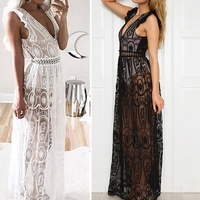 Domeef Long Dress Women Sexy Lace Sleeveless Backless Hollow Out White black Long Evening Party NightClub Dress S-XL