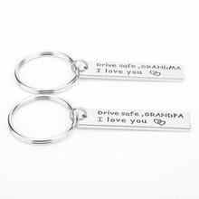 2 pcs Keychains Drive Safe I love you Grandpa Grandma Letters Keychain Simple Trinket Key Rings Key Chain Fashion Keyfob(China)