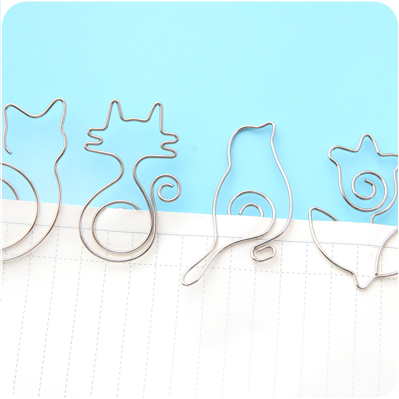 Купить с кэшбэком 10 pcs Kawaii cats and flowers metal bookmarks Cartoon birds paper clips book page holder School separador de libros FC928
