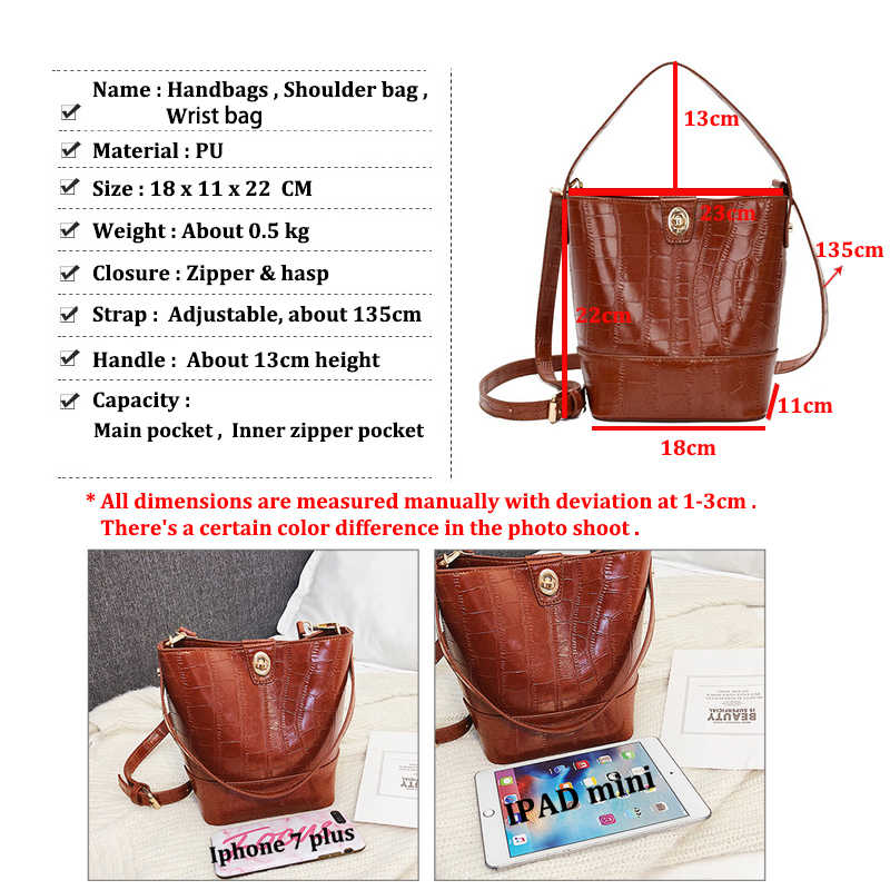 Znakomity 単にバッグヴィンテージバケットバッグの女性ワイン赤アリゲーター高級ハンドバッグ女性のバッグデザイナーレザークロスボディメッセンジャーバッグ