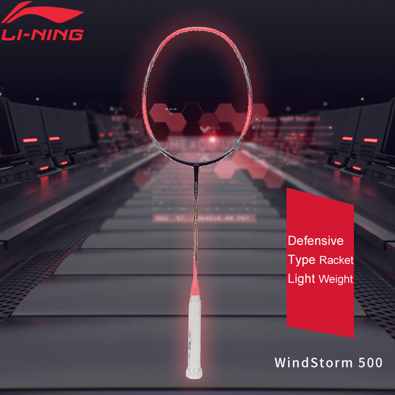 Li Ning WINDSTORM 500 Defensive Badminton Racket Light Weight Carbon LiNing Single Sport Rackets AYPM004 AYPK014