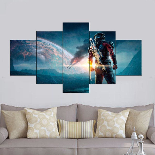 HD Printed 5 piece canvas art mass effect andromeda game picture painting wall Picture Living room & HD Printed 5 piece canvas art mass effect andromeda game picture ...