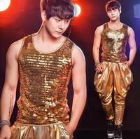 Gold Men S Clothing Star Style Dress Punk Rock Clothes Paillette Mens Sequins Vest Costume Singer