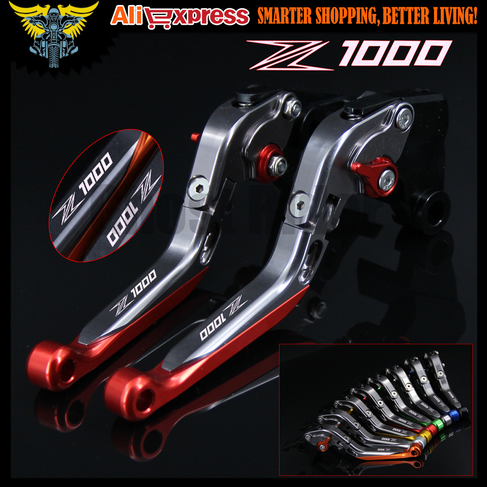 Laser Logo(Z1000) Red&Titanium CNC Motorcycle Brake Clutch Levers For kawasaki 2007 2008 2009 2010 2011 2012 2013 2014 2015 2016 fxcnc cnc pivot brake clutch levers motocross dirtbike a pair 9 colors for kawasaki kx250f 05 12 2006 2007 2008 2009 2010 2011