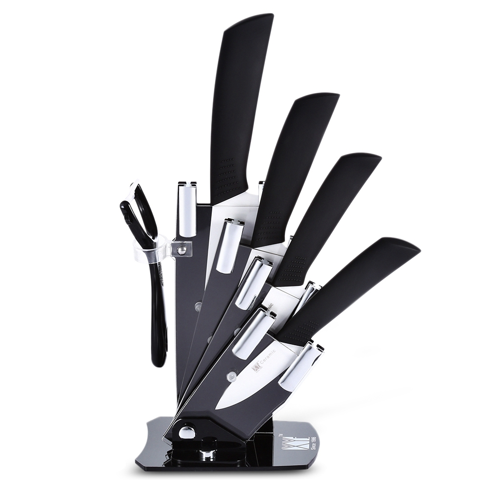 6 In 1 Kitchen Fruit Vegetable Paring Kit Slip-proof Handle Ceramic Knives With Peeler Holder