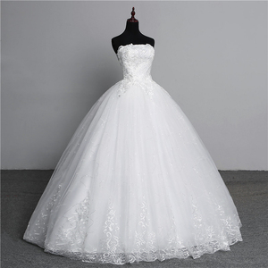 Image 3 - Vraie Photo Simple dentelle fleur sans bretelles blanc cassé mode Sexy robes de mariée pour les mariées grande taille vestido de noiva