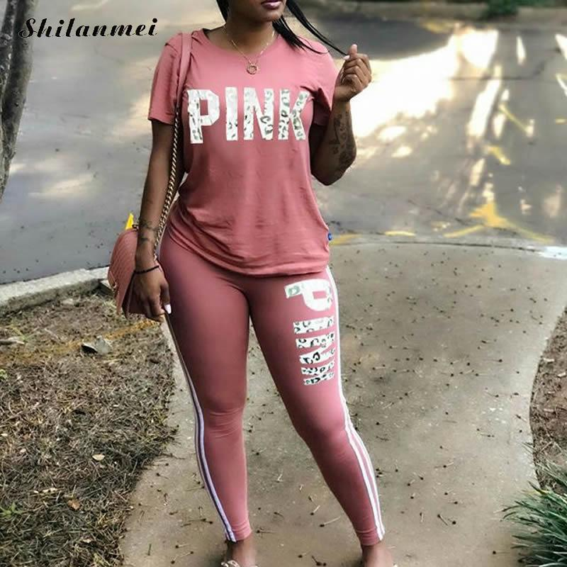 Pink Letter Print Tracksuit Women 2019 Plus Size Sportsuit 3xl T-Shirts And Skinny Pants Sets Suits Women Casual Two Piece Set