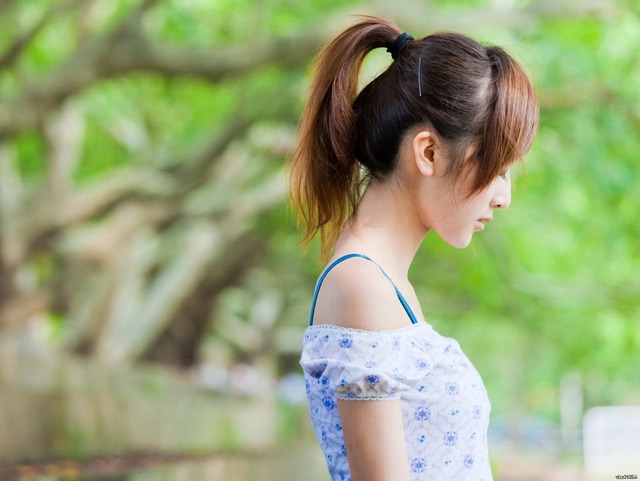 Thoughtful Cute Asian Girl Ponytail Art Huge Print Poster Txhome D