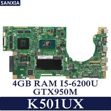 KEFU K501UX Laptop motherboard for ASUS K501UX K501UB K501U K501 Test original mainboard DDR3 4G RAM I5-6200U GTX950M EDP