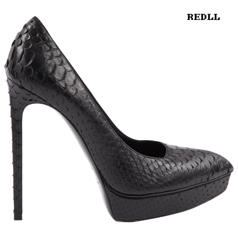 Super Echtem Leder Aus Einzel Schuh 5 12 High Plattform Dame Heels Frauen Schlangen Auf Cm Frühling Spitz Schuhe Pumpe Slip S8EAqw1xt