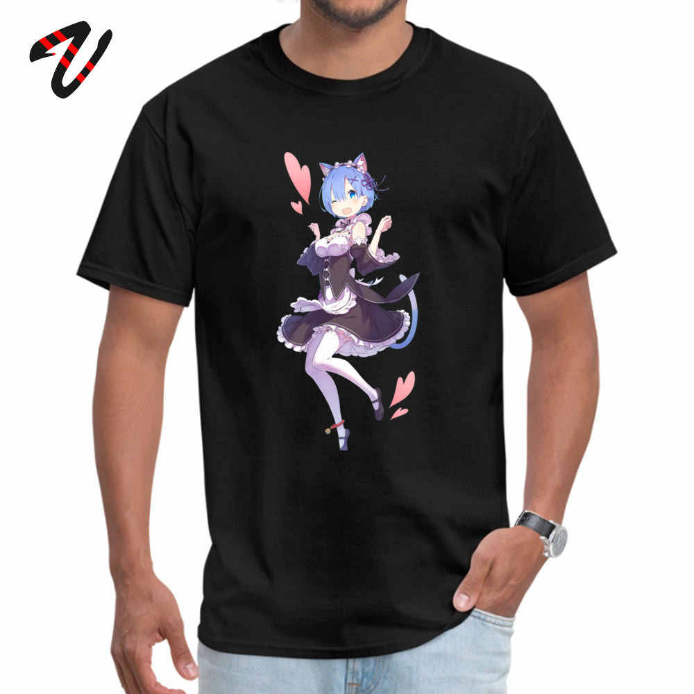 Homme T-shirts ReZero Neko Rem Normal T Shirt Anime col rond court Superman Design T Shirt saint valentin