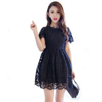 Women Spring Summer Lace Dress Hollow Out Beading Casual Women Sexy Party Mini Dress White Black
