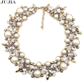 2017 new design high quality fashion necklace collar bib choker netal chainl pearl Necklaces statement Necklaces for women