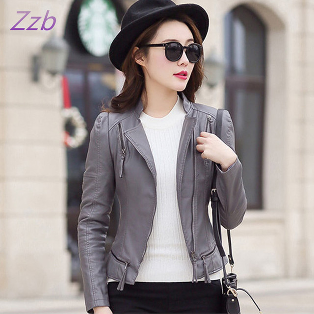 Leather jacket women new fashion leather coat women short slim motorcycle leather clothing female outerwear Jaqueta de couro